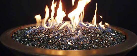 Fire Glass in a Fire Pit - Reflective Black - Sharp Engineering