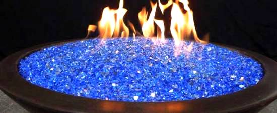 Fire Glass in a Fire Pit - Reflective Cobalt Blue - Sharp Engineering