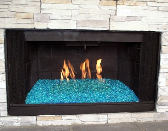 Fire Glass in a Fire Place - Reflective Pacific Blue - Sharp Engineering