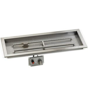 30″ x 10″ Stainless Steel Rectangular Drop-in Fire Pit Pan With Electric Ignition System Kit, CSA Certified